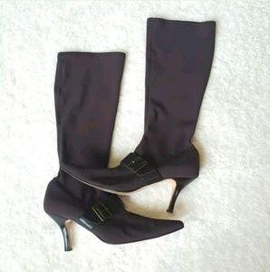 Van Eli Knee High Heel Stretch Boots Size 8W Brown